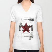 moscow V-neck T-shirts featuring Moscow Mockba by Virbia