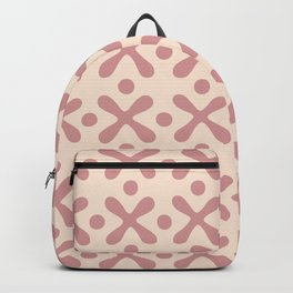 Mid Century Modern X and Dot Pattern Dusty Rose 3 Backpack