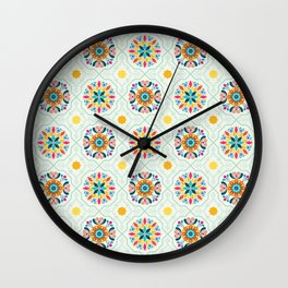 Cheery Modern Moorish Tiles in Minty Moroccan Green Wall Clock