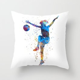 Woman soccer player 12 in watercolor Throw Pillow