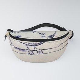 Curious Bird Ink Drawing Fanny Pack