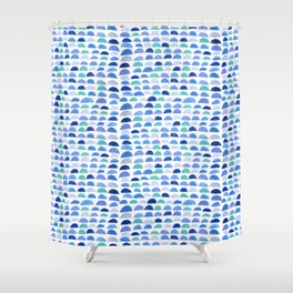 Blue scalloped pattern Shower Curtain