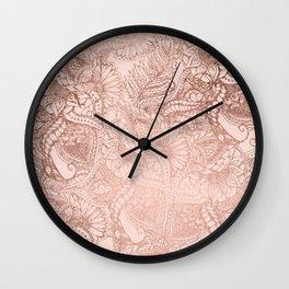 Modern rose gold floral illustration on blush pink Wall Clock