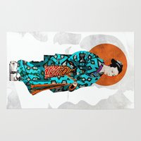 geisha Area & Throw Rugs featuring Geisha by Steve W Schwartz Art