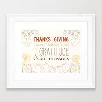 thanksgiving Framed Art Prints featuring ThanksGiving by joannaciolek