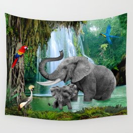 ELEPHANTS OF THE RAIN FOREST Wall Tapestry