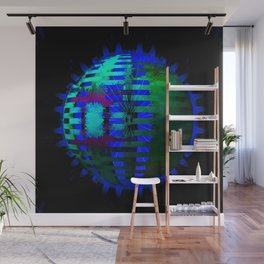 Green Layered Star in Blue Flames Wall Mural