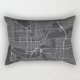 Edmonton Map, Canada - Gray Rectangular Pillow