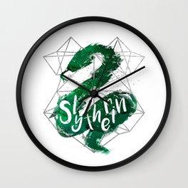 Slytherin Silver Splatter Wall Clock