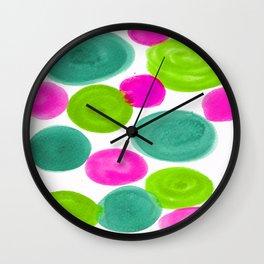 PINK AND GREEN DOTS Wall Clock