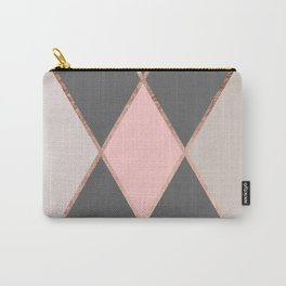 Modern pastel pink gray color block rose gold stripes Carry-All Pouch