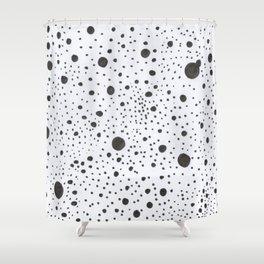 Hand drawn black and white polkadot pattern Shower Curtain