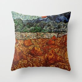 Van Gogh, night at the rising of the moon – Van Gogh,Vincent Van Gogh,impressionist,post-impressioni Throw Pillow