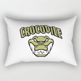 Green crocodile head mascot Rectangular Pillow