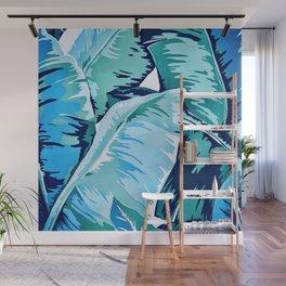 Banana leaf grandeur - aqua Wall Mural