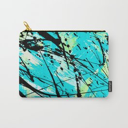Abstract teal lime green brushstrokes black paint splatters Carry-All Pouch