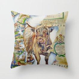 Highland cow, Spirit of Scotland painting Throw Pillow