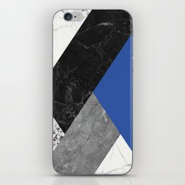Black and White Marbles and Pantone Lapis Blue Color iPhone Skin