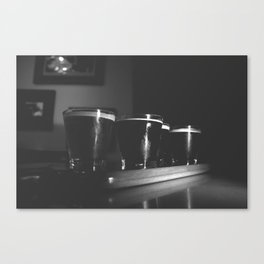 Beer Flight #3 Black and White Canvas Print