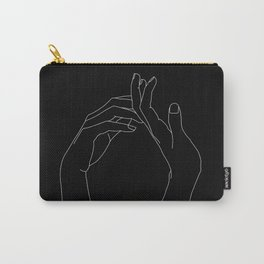 Hands line drawing illustration - Abi black Carry-All Pouch