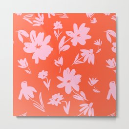 Pink and Red Floral Design Cute Feminine Palm Springs California Inspired Flowers Metal Print