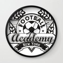 Football emblem 'Academy New York' Wall Clock