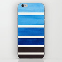 Blue Minimalist Mid Century Modern Color Fields Ombre Watercolor Staggered Squares iPhone Skin