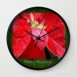 Mottled Red Poinsettia 2 Happy Holidays P1F5 Wall Clock