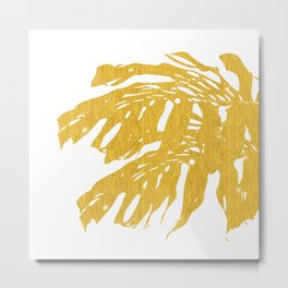 Gold Tropical Leaves I Metal Print