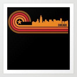 Retro Style Chicago Illinois Skyline Art Print