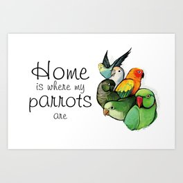 Home is Where My Parrots Are Art Print