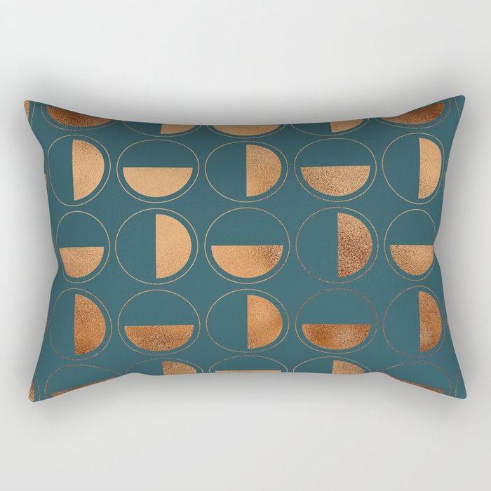Copper Circles Art Deco on Emerald Rectangular Pillow