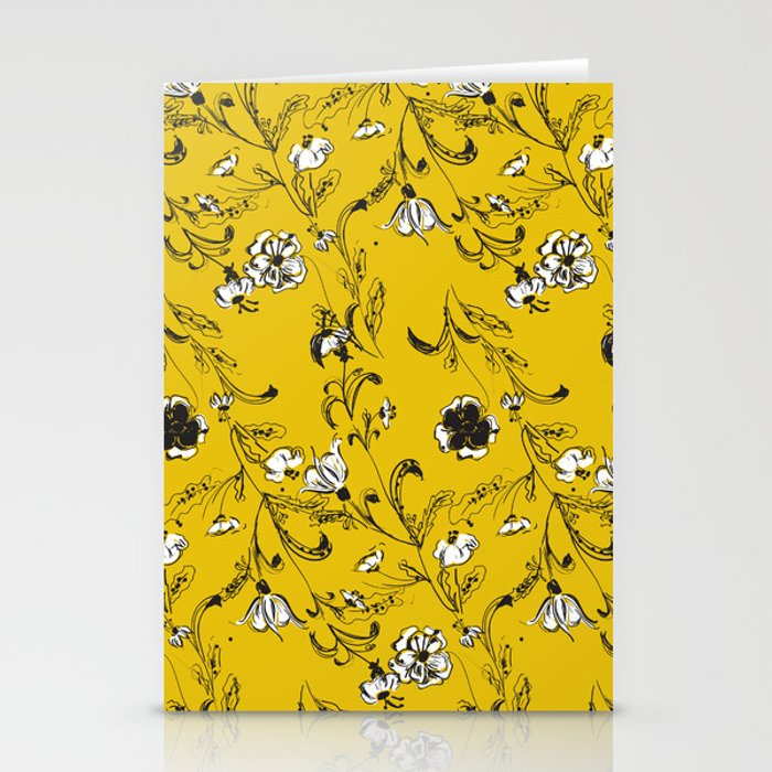 Yellow Floral Pattern Stationery Cards