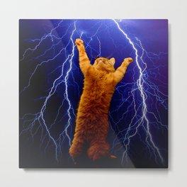 cat Thunders lighting space universe galaxy Metal Print