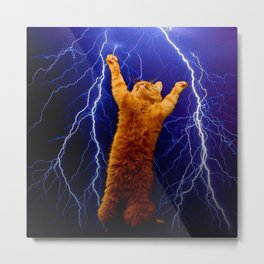 cat Thunders lighting space universe galaxy Metal Print