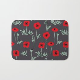 Red poppy flower pattern Bath Mat