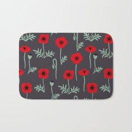 Red poppy flower pattern Bath Mat