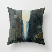 nan lawson Throw Pillows featuring New York Street Scene - Ernest Lawson by BravuraMedia