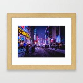 Shibuyascapes Snowy Night Framed Art Print