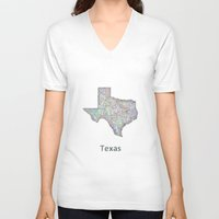 texas V-neck T-shirts featuring Texas map by David Zydd