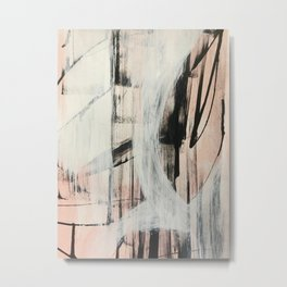 Sweet Tart [2]: a minimal abstract mixed-media piece in pink black and white by Alyssa Hamilton Art Metal Print