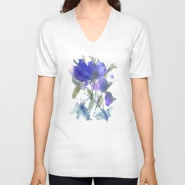 Bluest Blue Bloom Unisex V-Neck