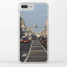 Cars traffic on Nevsky Prospect Clear iPhone Case