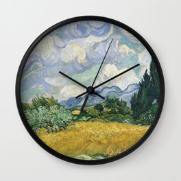 Wheat Field with Cypresses by Vincent van Gogh Farmhouse Aesthetic Blue Emerald Green Golden Yellow Wall Clock