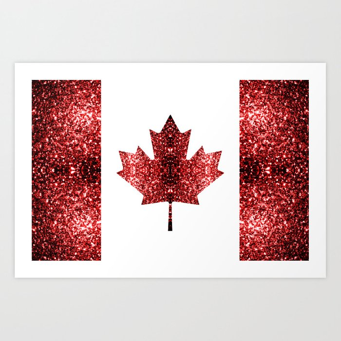 Canada flag red sparkles Art Print
