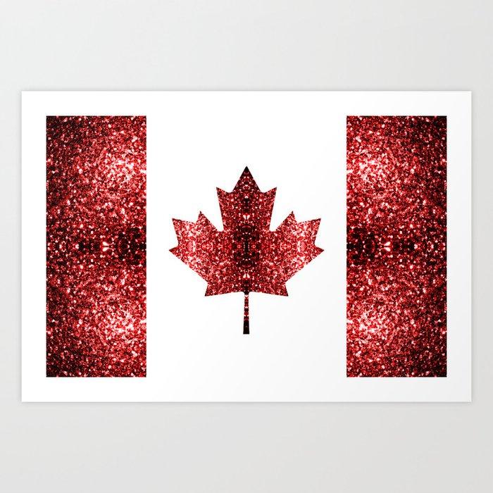 Canada flag red sparkles Art Print