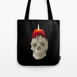 Halloween Skull with candle  black background Tote Bag