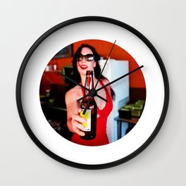 Hispanic bartender serving cold beer Wall Clock