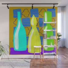 Moroccan Bottles with mustard wall Wall Mural
