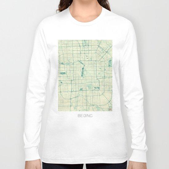 Beijing Map Blue Vintage Long Sleeve T-shirt